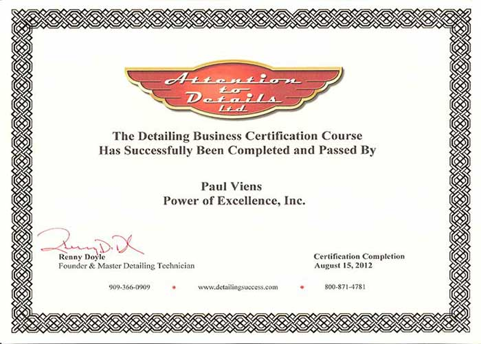 Power of Excellence Certificates business certification