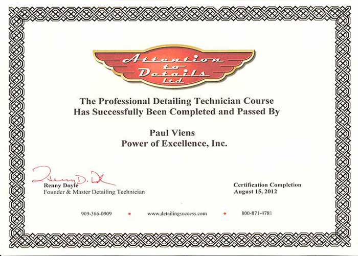 Power of Excellence Certificates attention to details