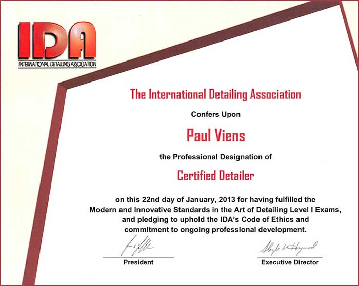 Power of Excellence Certificates International detailing association