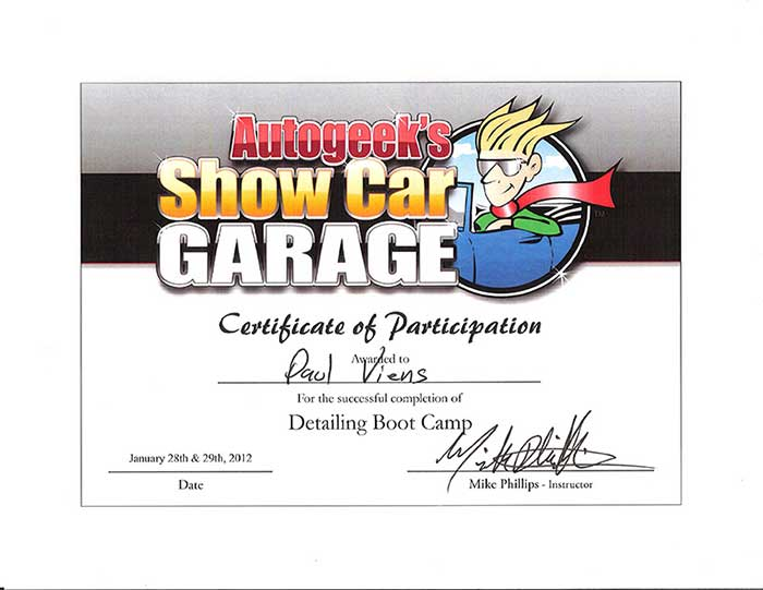 Power of Excellence Certificates show car garage